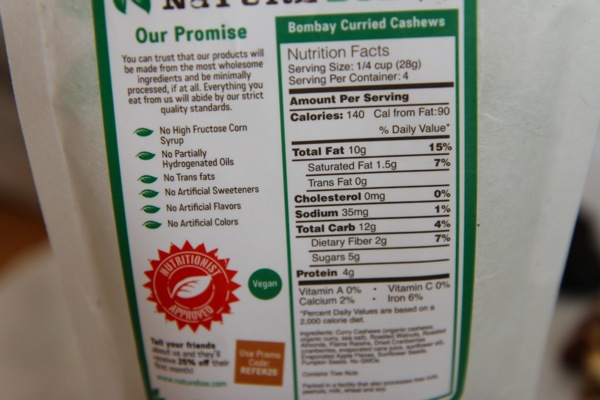 NatureBox Nutrition Label