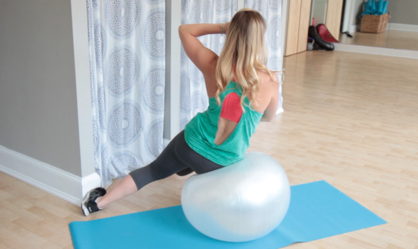 Oblique Crunch on Exercise Ball
